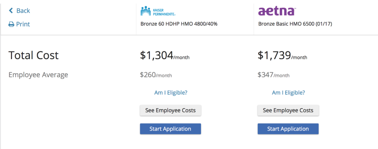 HMO cost comparison small business health plans